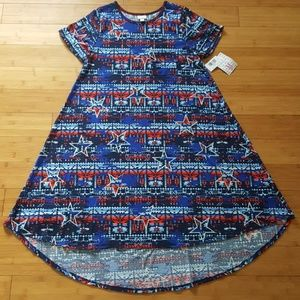 NWT LuLaRoe Carly Hi-Low swing dress Patriotic